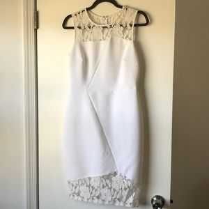 White Calvin Klein dress with lace detail